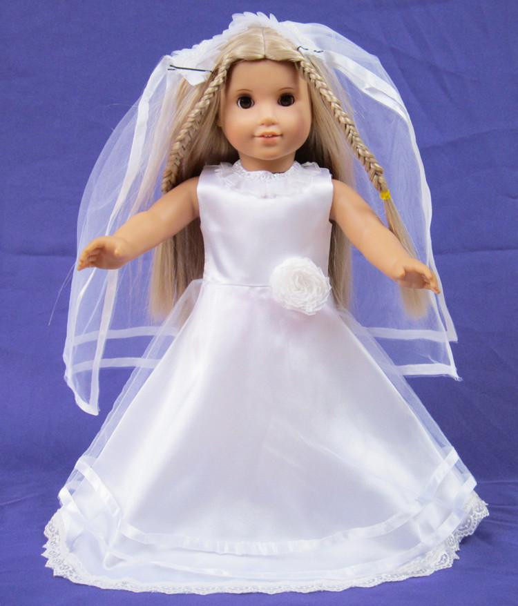 Beautiful Doll Clothes Wedding Dress Fits for 18 American Girl Dolls American Girl Doll Wedding Dress Of Beautiful American Girl Doll Wedding Dress Satin and Silver American Girl Doll Wedding Dress