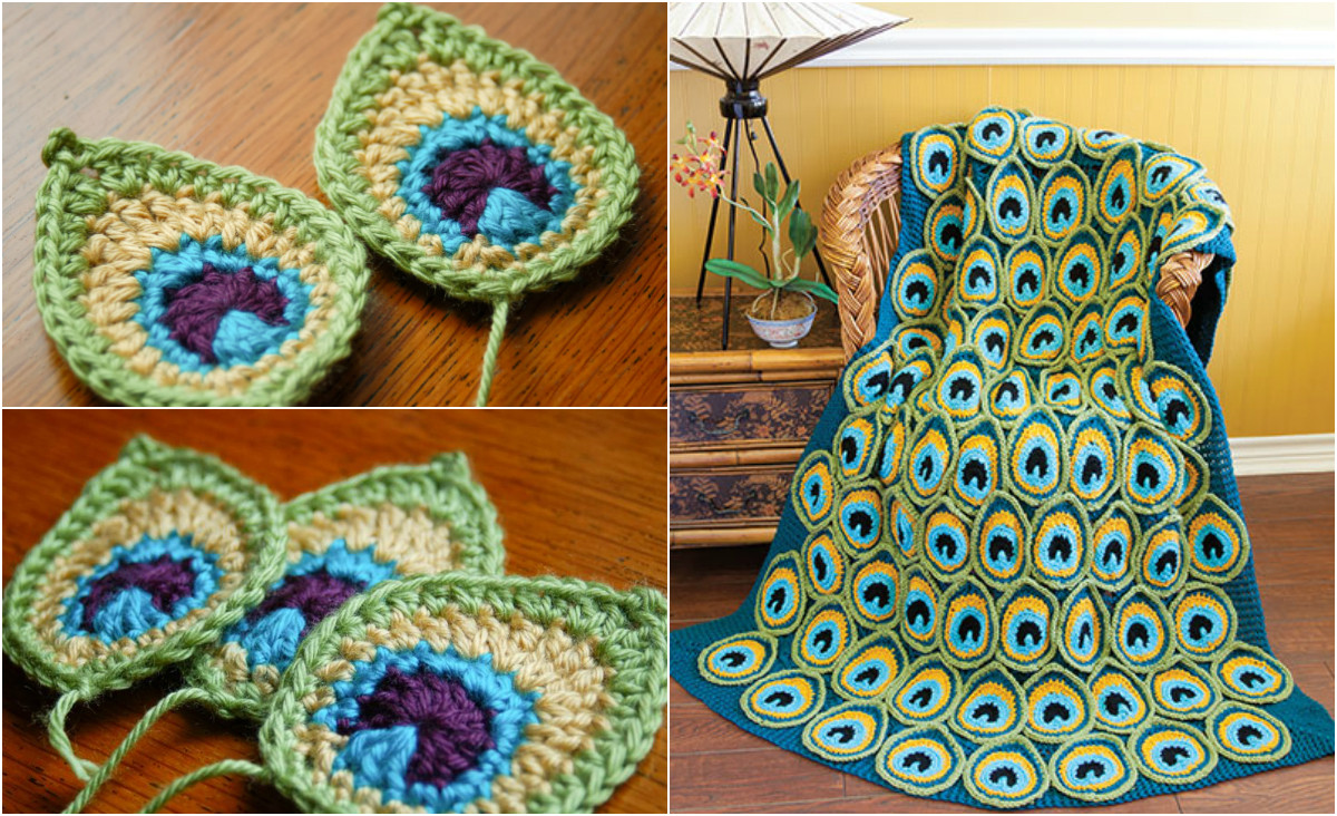 Beautiful [easy & Free] Peacock Feather Applique Crochet Pattern Crochet Peacock Feather Of Great 44 Models Crochet Peacock Feather