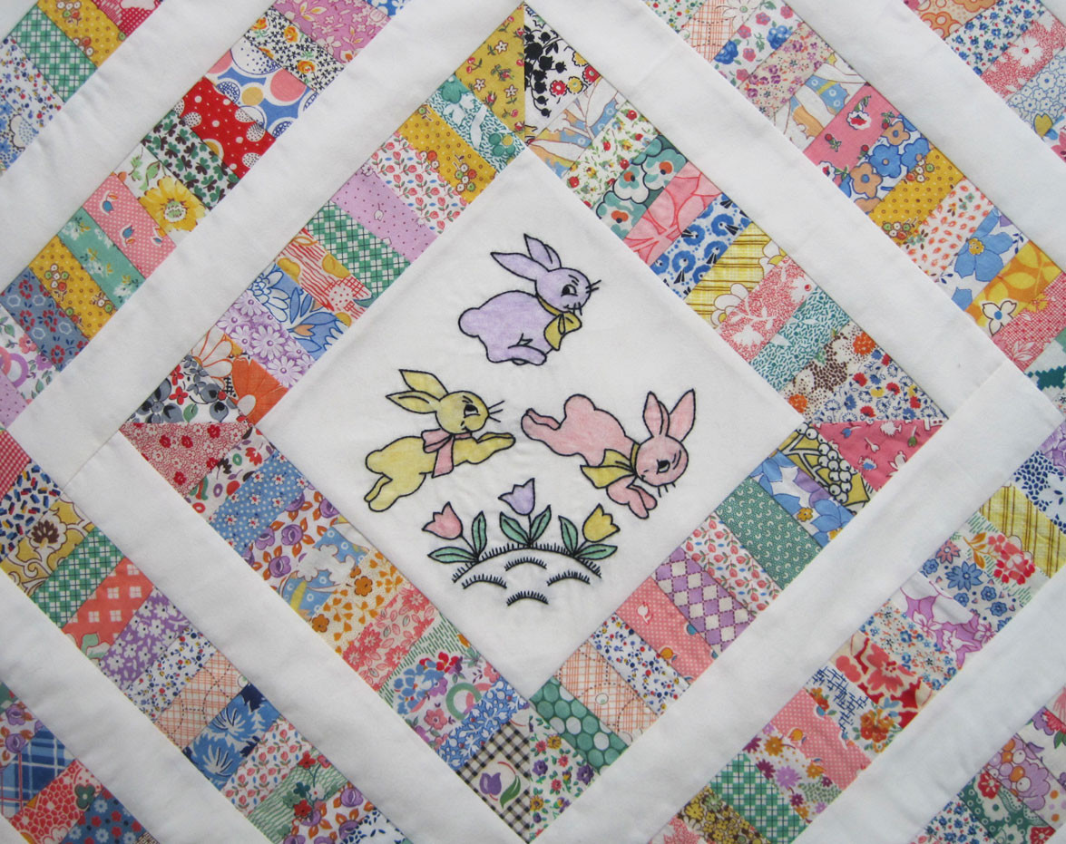 Embroidered Bunny Doll Quilt Top – Q is for Quilter
