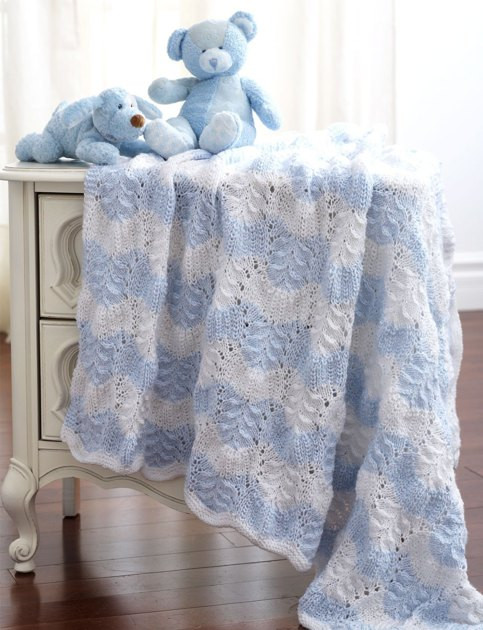 Feather And Fan Blanket To Knit in Bernat Baby Sport