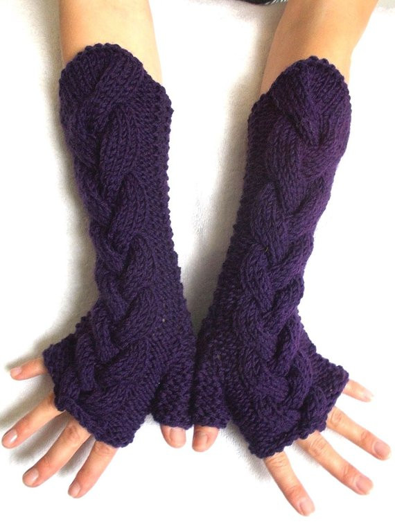 Beautiful Fingerless Gloves Arm Warmers Knit Wrist Warmers Dark Violet Knit Arm Warmers Of Brilliant 41 Images Knit Arm Warmers