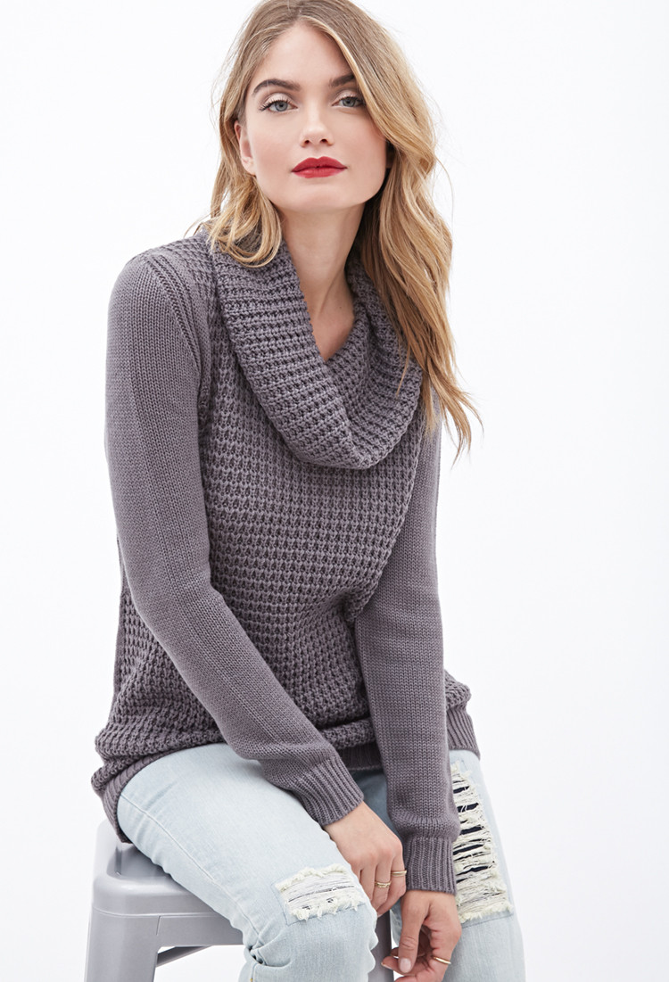 Beautiful forever 21 Contemporary Mixed Knit Cowl Neck Sweater In Cowl Neck Knit Sweater Of Top 42 Pictures Cowl Neck Knit Sweater