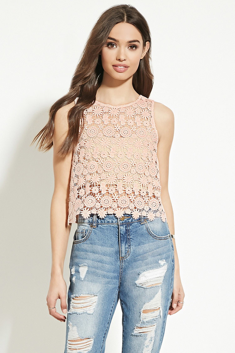 Beautiful forever 21 Floral Crochet top In Natural Crochet tops forever 21 Of Beautiful forever 21 Scalloped Crochet top In Beige Cream Crochet tops forever 21