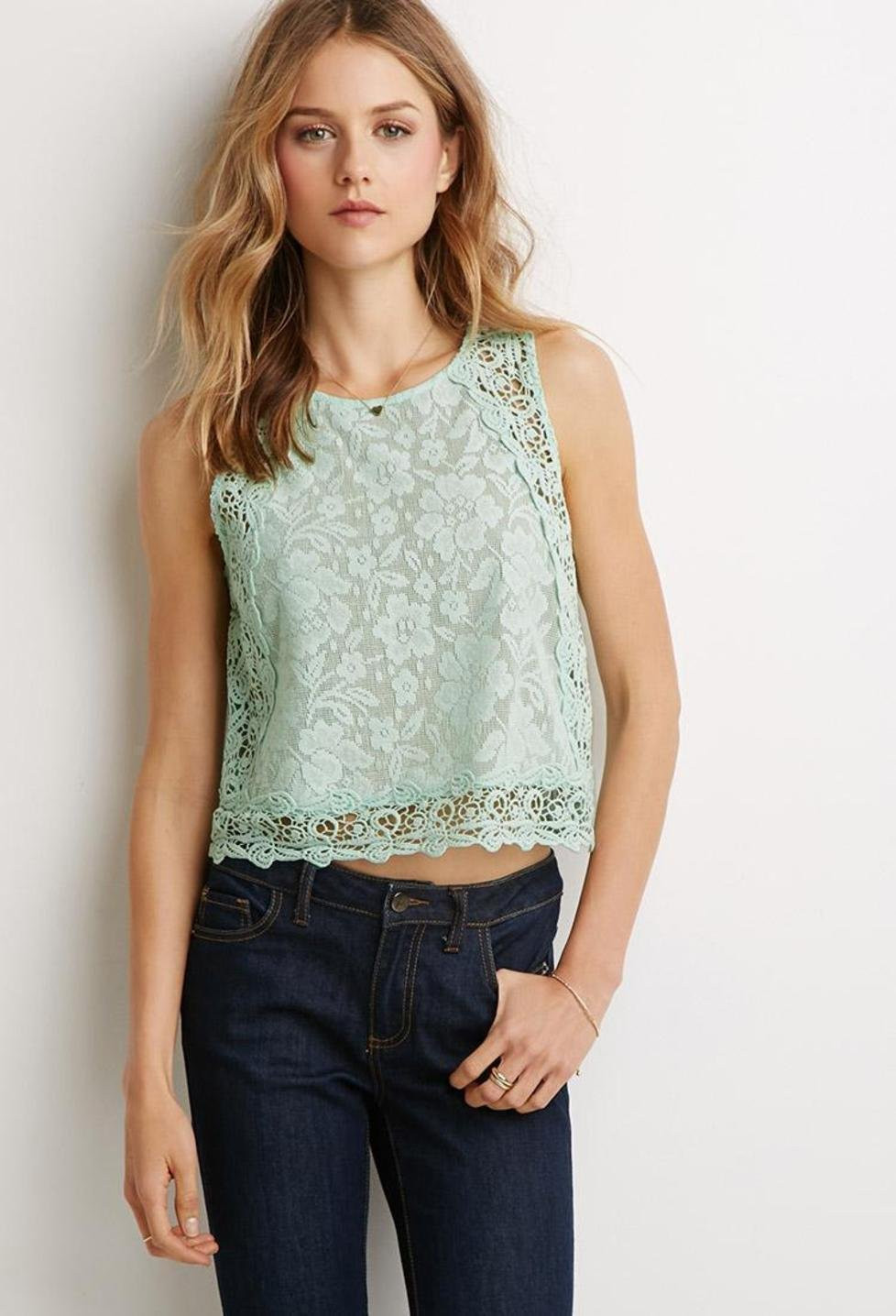Beautiful forever 21 Mixed Floral Crochet top Crochet tops forever 21 Of Beautiful forever 21 Scalloped Crochet top In Beige Cream Crochet tops forever 21