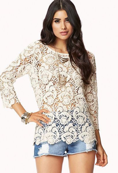 Beautiful forever 21 Scalloped Crochet top In Beige Cream Crochet tops forever 21 Of Beautiful forever 21 Scalloped Crochet top In Beige Cream Crochet tops forever 21
