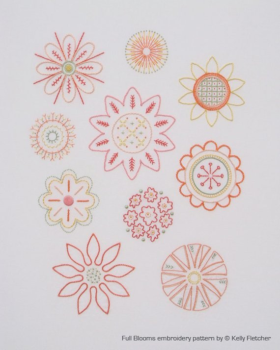 Full Blooms modern hand embroidery pattern modern embroidery