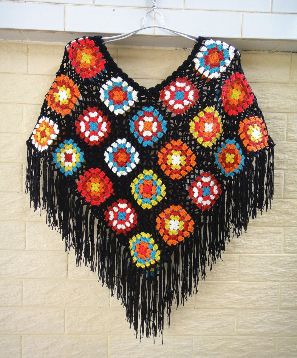 Beautiful Granny Square Crochet Ponchos with Black Fringes Granny Square Poncho Of Adorable 49 Photos Granny Square Poncho