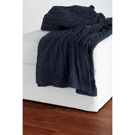 Gray Cable Knit Throw Rizzy Home Tar