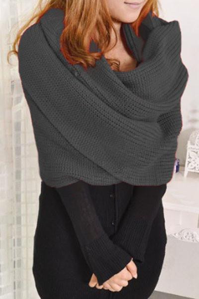 Beautiful Grey Knit Loose Scarf Neck Warmer Shawl with Sleeves Scarf with Sleeves Of Lovely 40 Models Scarf with Sleeves