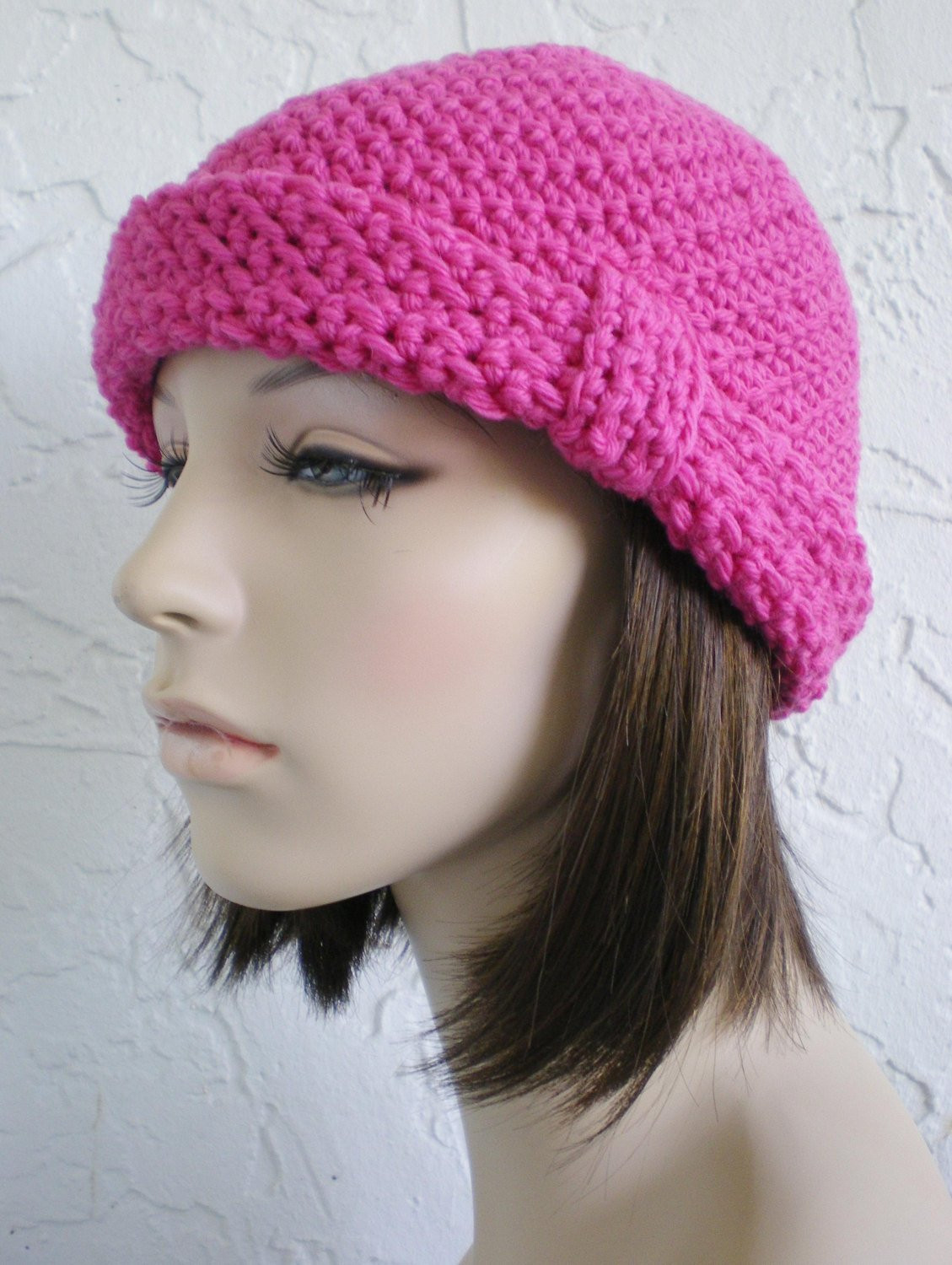 Beautiful Hand Crochet Cloche Hat Rolled Brim Hat Women Pink Hat Winter Pink Crochet Hat Of Great 43 Models Pink Crochet Hat