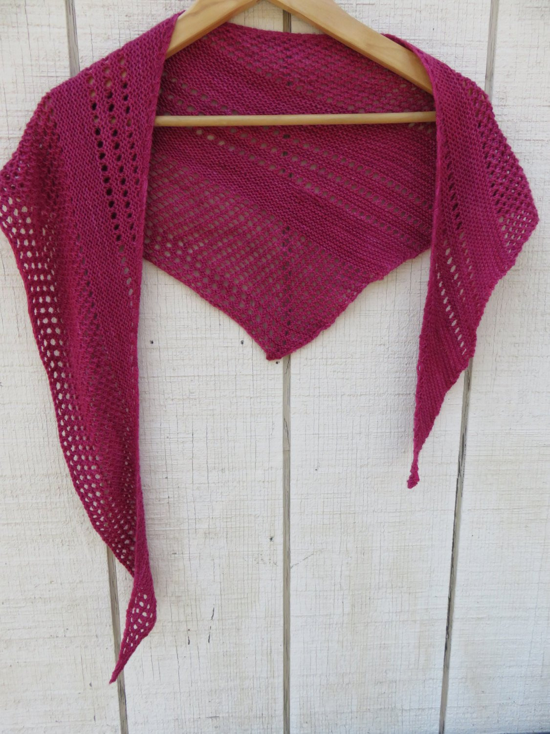 Hand Knit Shawl Wrap Scarf Fuschia Dark Pink Lace Asymmetrical
