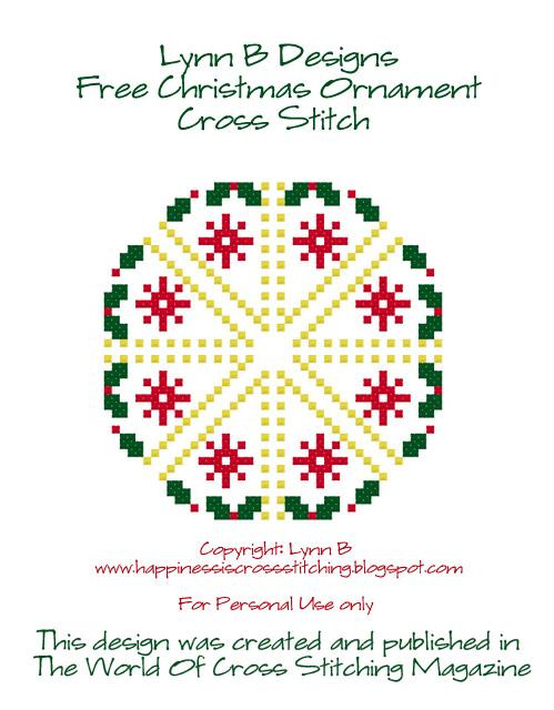 Happiness is Cross Stitching Free Christmas Ornament