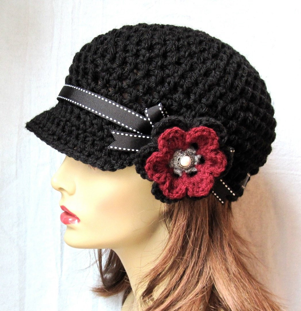 Beautiful Hat Womens Hat Black Newsboy Burgundy Teens Cancer Hat Crochet Flower for Hat Of Beautiful 45 Photos Crochet Flower for Hat
