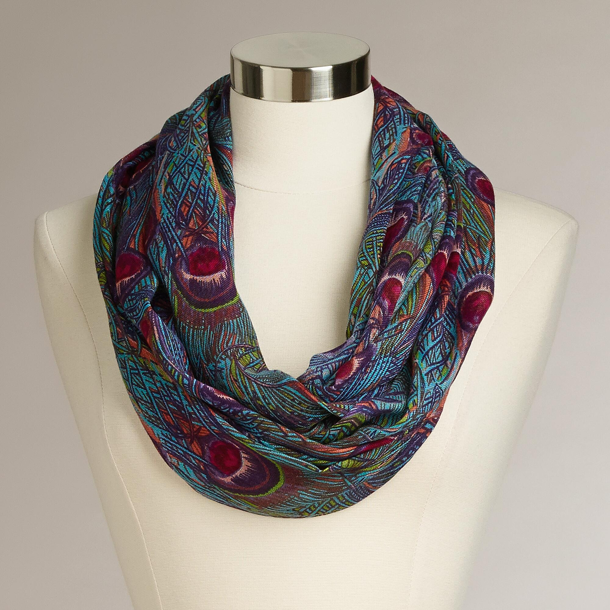 infinity blue peacock scarf