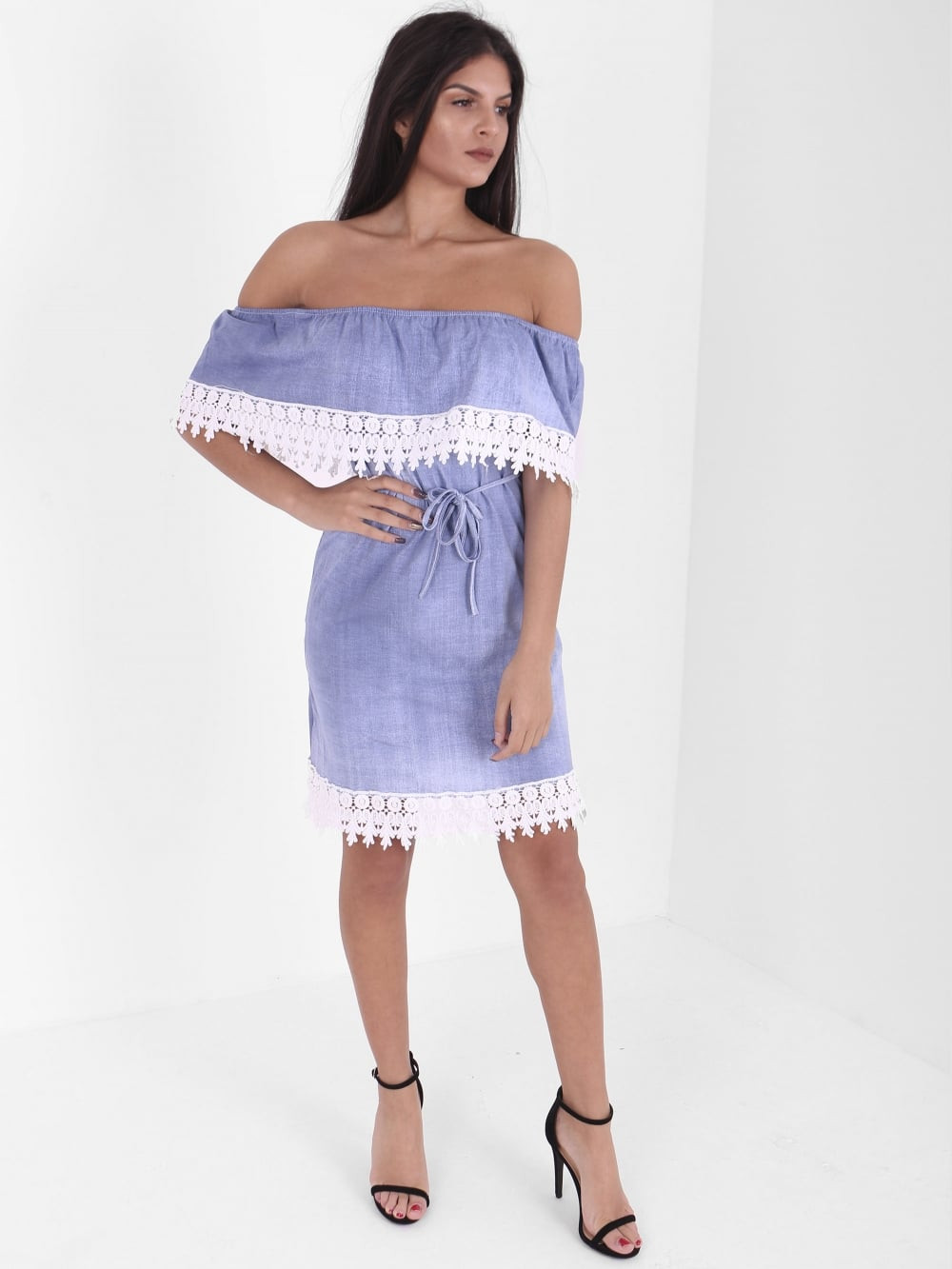 Beautiful Inox Clothing Denim Bardot Crochet Trim Dress New In Crochet Trim Dresses Of Attractive 47 Images Crochet Trim Dresses