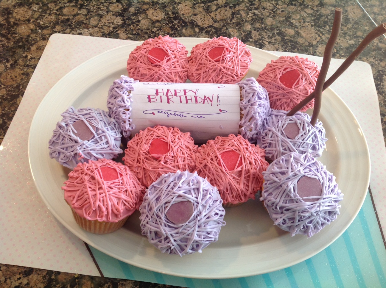 Inspire Me Grey Birthday Cupcakes for a Yarn Enthusiast