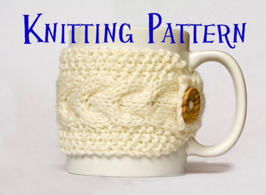Beautiful Instant Download Pdf Knitting Pattern Cabled Mug Cozy Knitted Mug Cozy Of Unique 48 Photos Knitted Mug Cozy