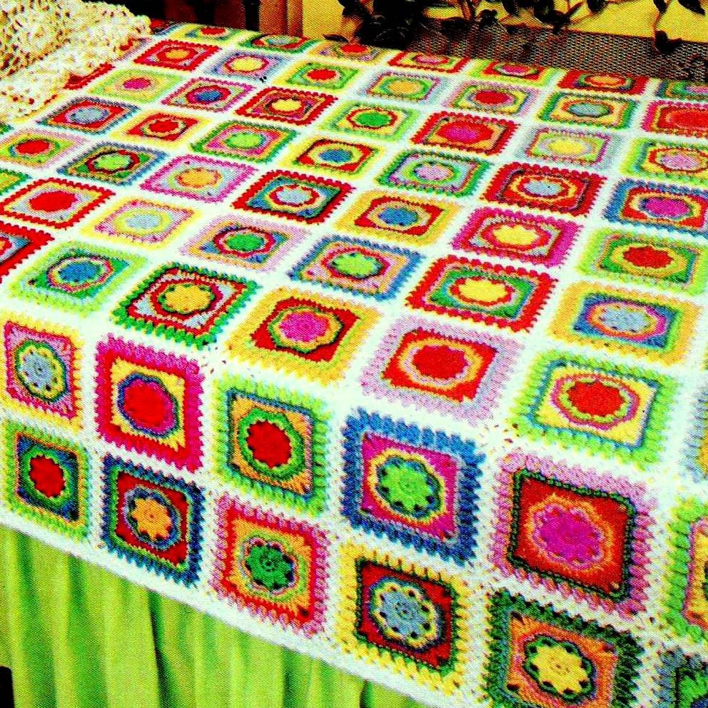 Beautiful Instant Download Pdf Vintage Crochet Pattern Patchwork Granny Granny Square Afghan Pattern Of Beautiful 49 Photos Granny Square Afghan Pattern