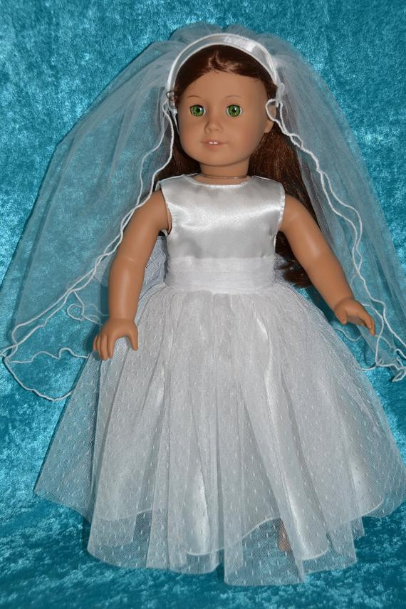 Beautiful Items Similar to American Girl Doll Wedding Dress with American Girl Doll Wedding Dress Of Best Of White Munion Wedding Dress formal Spring Church Fits 18 American Girl Doll Wedding Dress