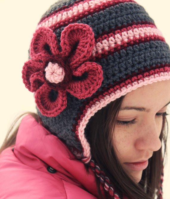 Beautiful Items Similar to Crochet or Knit Adult Hat Gray Grey and Pink Crochet Hat Of Great 43 Models Pink Crochet Hat