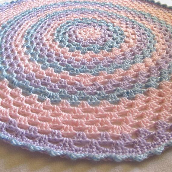 Beautiful Items Similar to Granny Mandala Round Baby Blanket Pastel Round Crochet Blanket Of Fresh 46 Models Round Crochet Blanket
