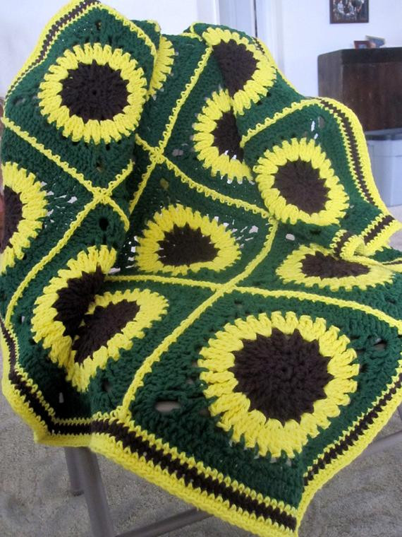 Beautiful Items Similar to Granny Square Afghan Yellow Sunflowers Sunflower Afghan Of Delightful 32 Pics Sunflower Afghan