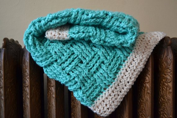 Items similar to Green Crochet Baby Blanket Basket Weave
