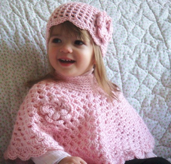 Beautiful Items Similar to Pink Baby Poncho and Hat Little Girls toddler Poncho Crochet Pattern Of Great 46 Images toddler Poncho Crochet Pattern