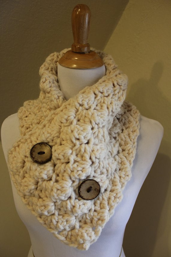 Beautiful Items Similar to Popcorn Crochet Scarf Neck Warmer button Crochet Cowl Neck Scarf Of Superb 49 Models Crochet Cowl Neck Scarf