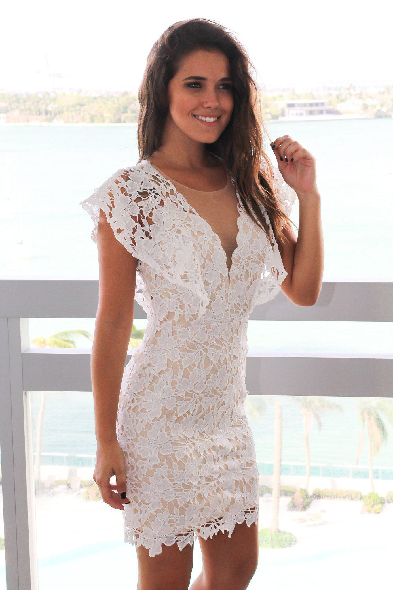 Ivory Crochet Short Dress with Ruffle Sleeves