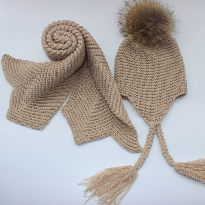 Kids knitted Scarf and Hat Set Luxury Winter Warm Crochet