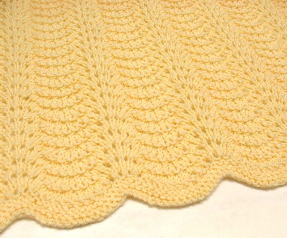 Knit Baby Blanket Yellow Hand Knitted Baby Afghan Blanket