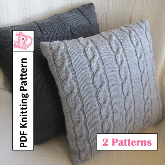 Beautiful Knit Pillow Cover Patterns Classic Cable and Simple Squares Knit Pillow Cover Pattern Of Amazing 45 Pics Knit Pillow Cover Pattern