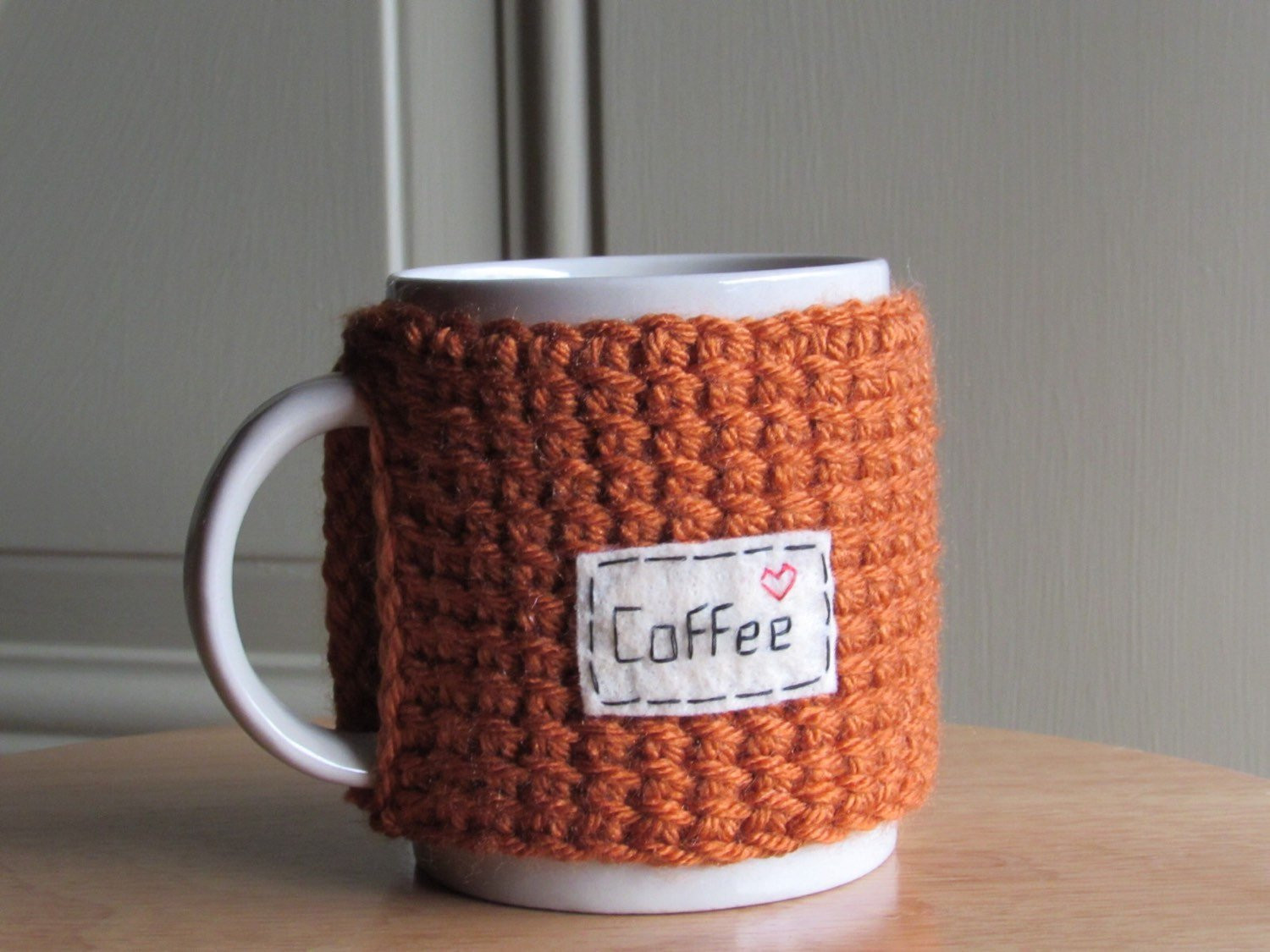 Beautiful Knitted Coffee Mug Cozy Cup Cozy with Hand Embroidered Patch Knitted Mug Cozy Of Unique 48 Photos Knitted Mug Cozy