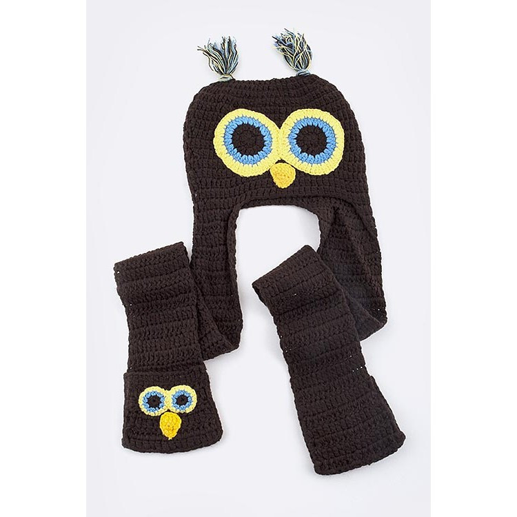 owl beanie hat with mittens scarf