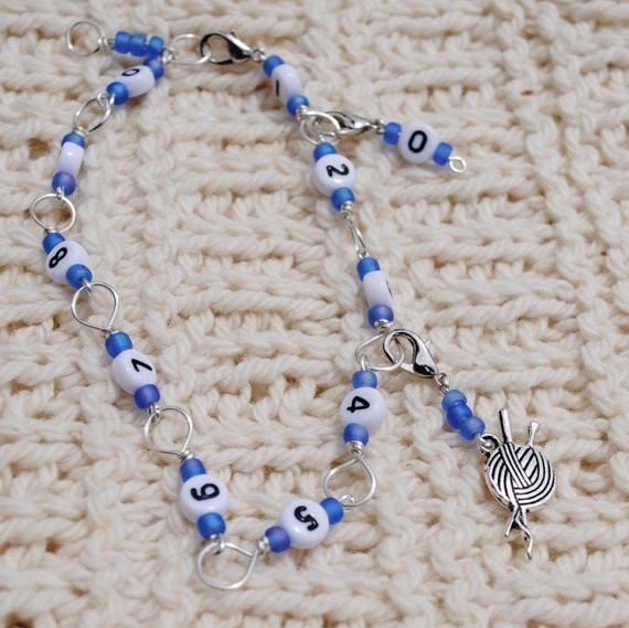 Beautiful Knitting or Crochet Row Counter Bracelet In Silver and Blue Crochet Row Counter Of New 44 Pics Crochet Row Counter
