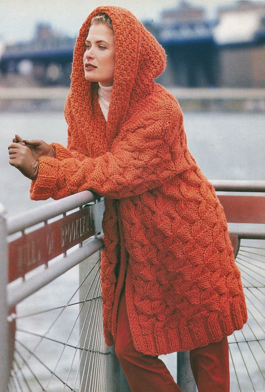 KNITTING PATTERN No 2017 LADY S CABLED HOODED JACKET COAT