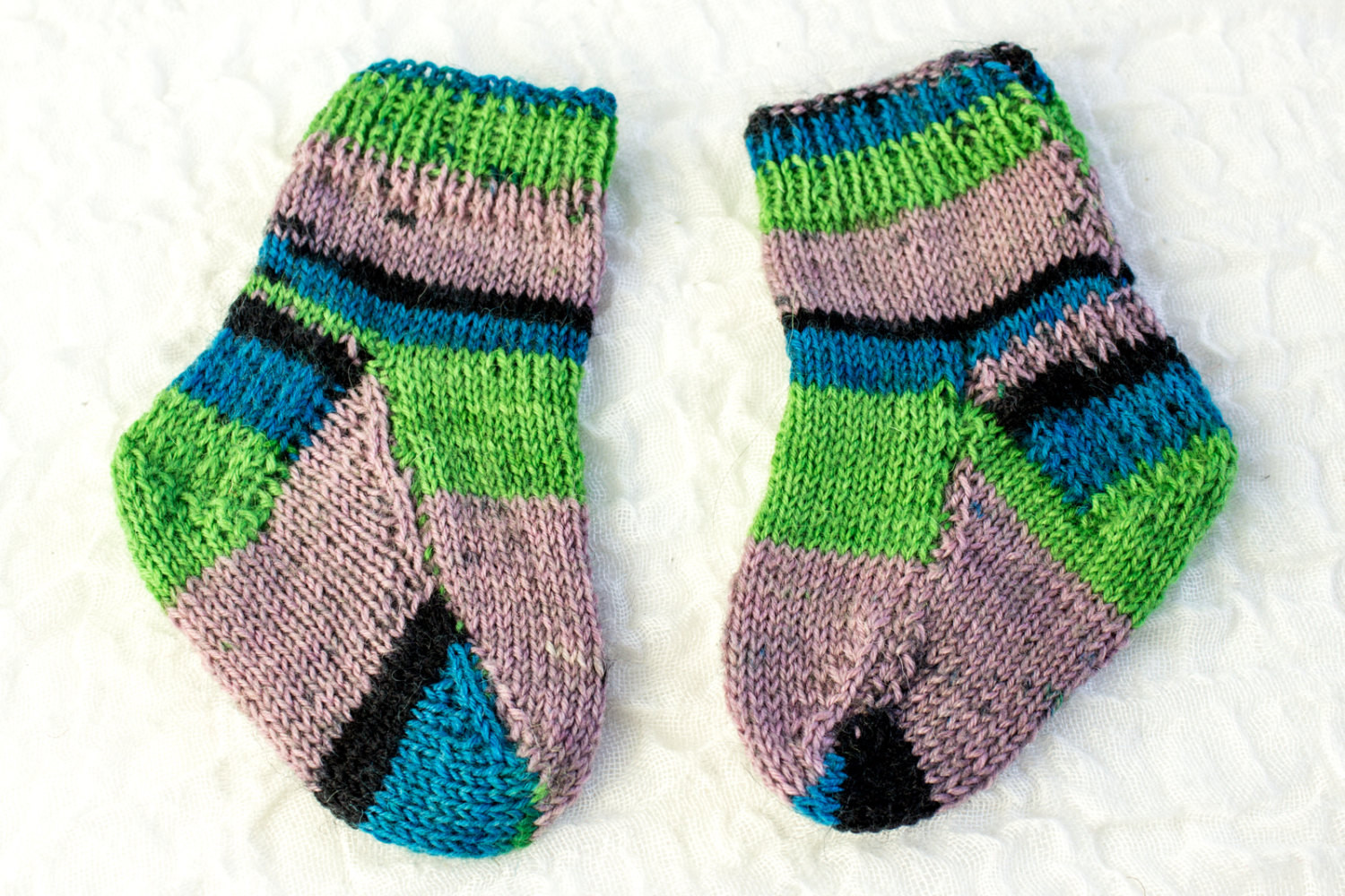 KNITTING PATTERN Two Needle Baby Socks Flat Sock
