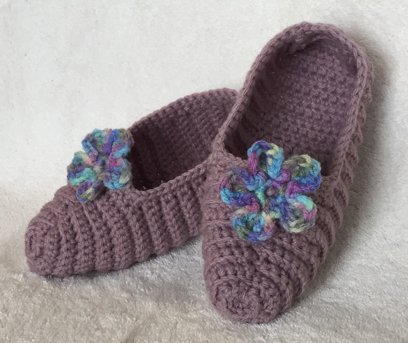 KweenBee and Me Crocheted Ribbed Slippers