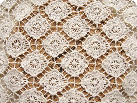 Lace Fabric ecru cotton lace 3D hollowed crochet M54