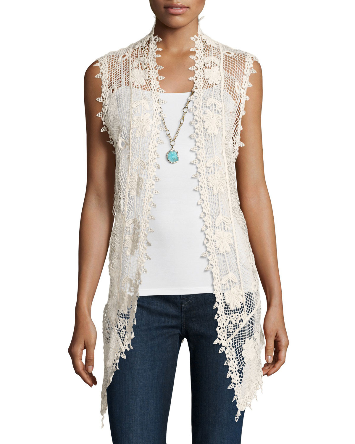 Lyst Liquid By Sioni Long Sleeveless Crochet Vest in Natural