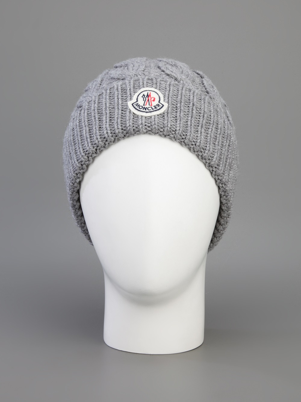 moncler cable knit beanie hat grey