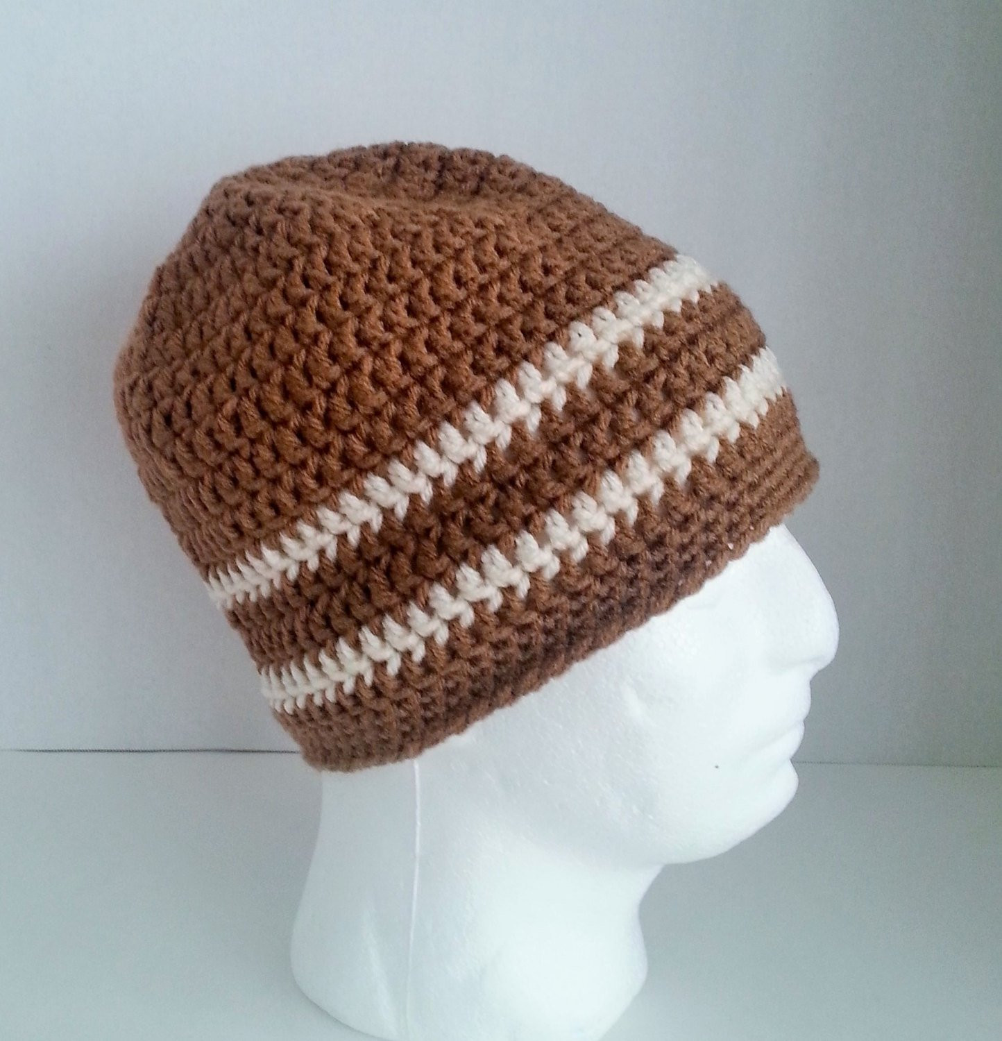 Mens Crochet Beanie Men s Crochet Hat Two Toned Camel