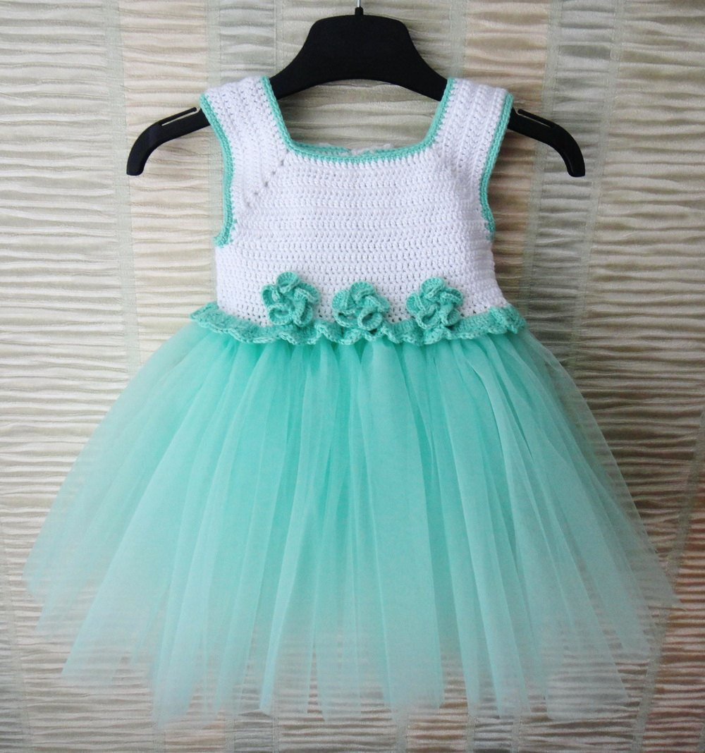 Beautiful Mint and White Handcrafted Baby Tulle Dress with Crochet top Crochet tops for Tutus Of Adorable 45 Models Crochet tops for Tutus