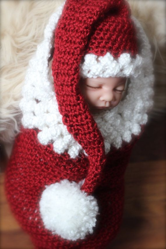 Newborn baby girl or newborn baby boy Christmas cocoon and