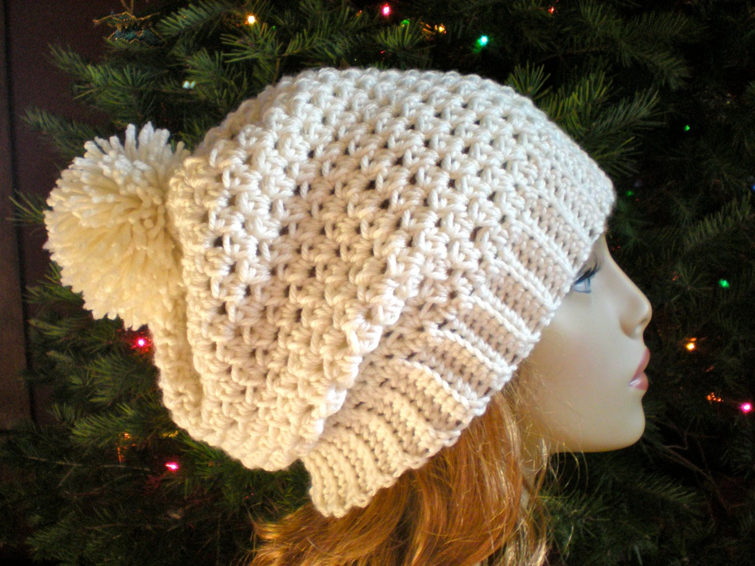 PATTERN Snow Bunny Hat easy crochet slouch beanie adult