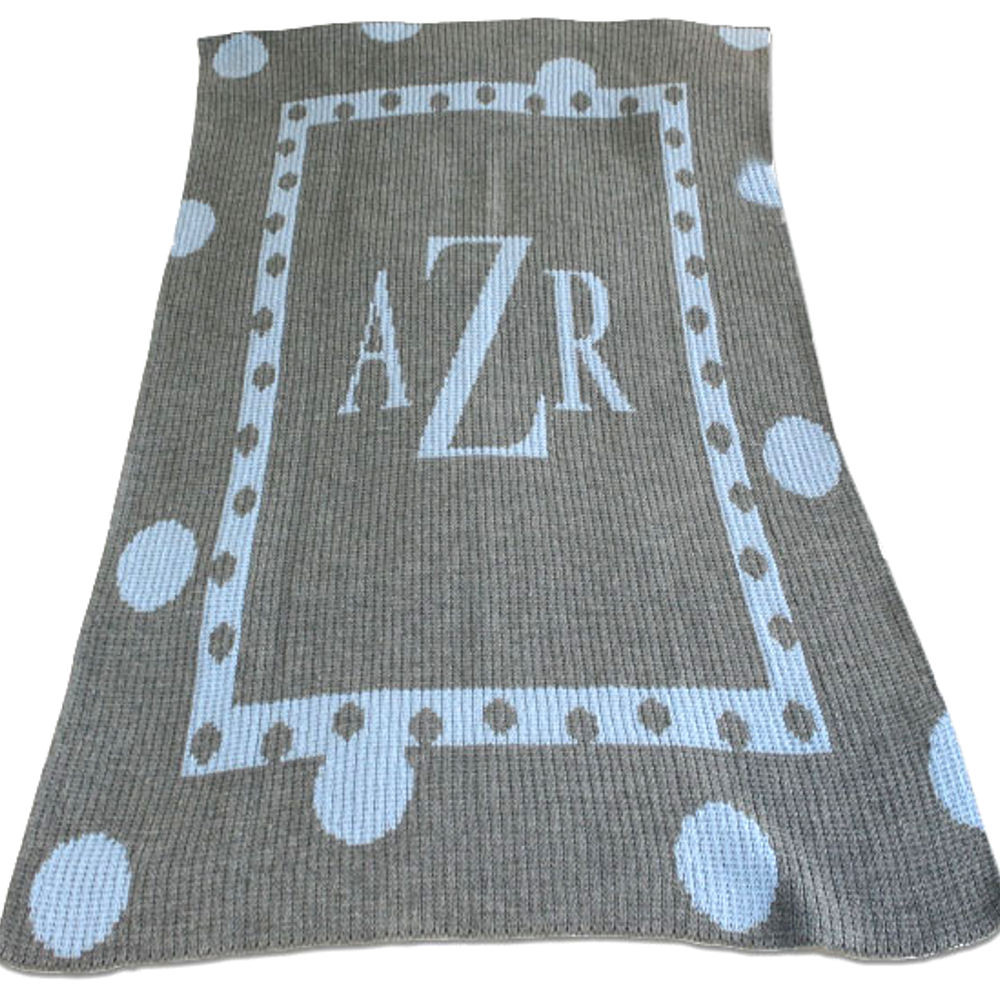 Personalized Knitted Baby Blanket Polka Dots