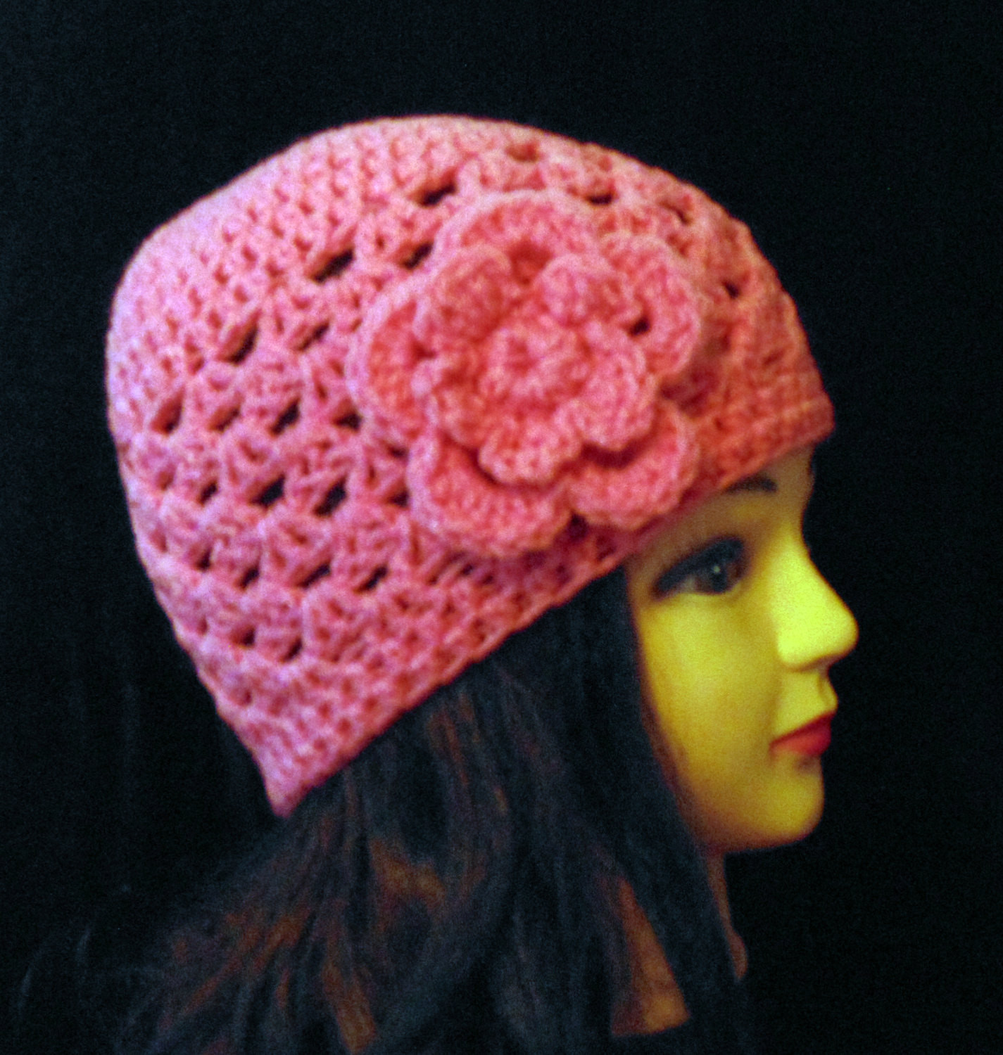 Pink Crochet Beanie Pink Hat Womans Accessories Spring