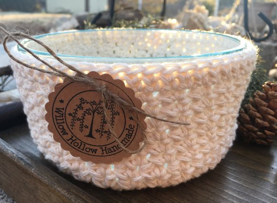 Beautiful Quart Glass Bowl Crochet Cover Cozy In Cream Cotton Yarn Crochet Bowl Cozy Of New 36 Images Crochet Bowl Cozy