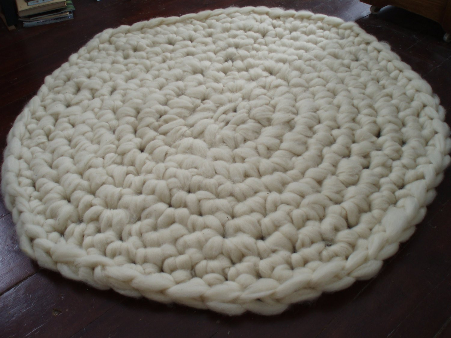 Beautiful Raw Wool Rug Hand Crochet Round Chunky by Rarilee On Etsy Hand Crochet Rug Of Contemporary 41 Models Hand Crochet Rug